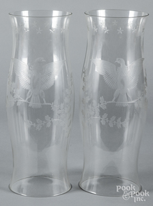 Pair of etched hurricane shades, with eagles