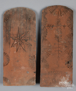 Two Oley Valley redware roof tiles, etc.