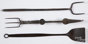 Three Pennsylvania wrought iron utensils, etc.