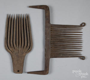 Two Pennsylvania wrought iron rippling combs, etc