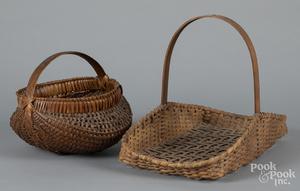Two splint baskets, etc.