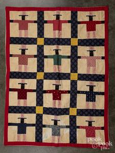 Contemporary patchwork black Americana doll quilt