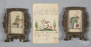 Unusual French memorial needlework on paper