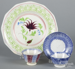 Blue spatterware child's cup and saucer, etc.