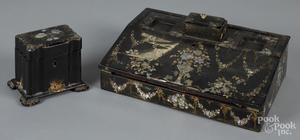 Mother of pearl inlaid paper mache desk box, etc.