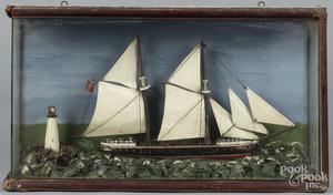 Painted ship diorama, etc.