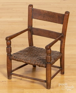 Child's chair, 19th c., with a woven seat