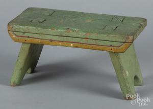 Pennsylvania painted pine foot stool