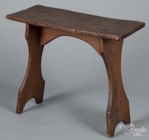 Mortised stool, 19th c., with shaped legs