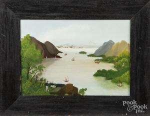 Naïve oil on artist board harbor scene