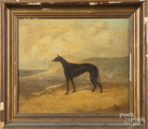 Oil on canvas portrait of a greyhound