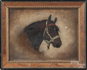 Oil on artist board portrait of a horse, etc.