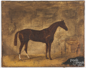 Oil on canvas portrait of a race horse