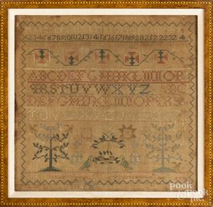 Silk on silk needlework sampler by Sarah Wagers