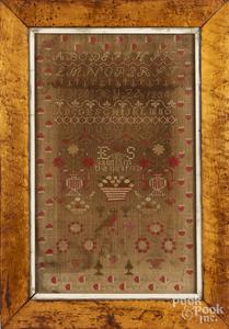 Silk on silk needlework sampler