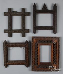 Four tramp art frames, ca. 1900