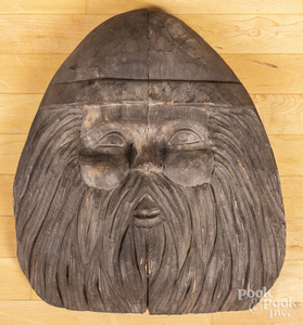Carved wooden Santa Claus head