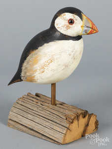Contemporary carved and painted puffin