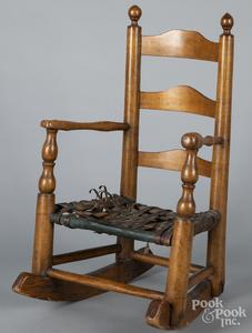 Childs ladderback rocking chair