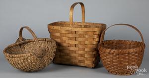 Three splint gather baskets, etc.