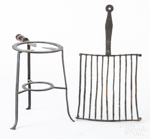 Wrought iron kettle stand, etc.