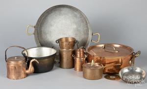 Nine pieces of copper cookware, etc.