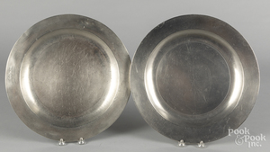 Two English pewter chargers