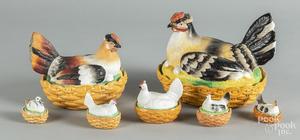 Six porcelain hen on nests, etc.