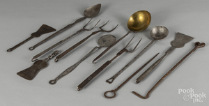 Wrought iron kitchen utensils, 19th c.
