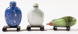 Three Chinese hardstone snuff bottles.