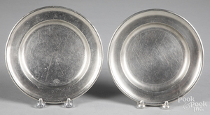 Two American pewter plates, 19th c.