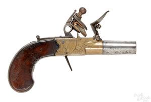 English Styan Manchester flintlock pocket pistol