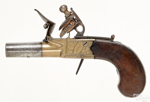English Styan Manchester flintlock pocket pistol