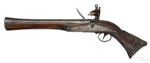 Middle Eastern flintlock blunderbuss pistol