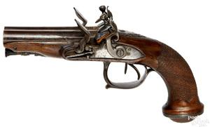European flintlock double barrel pistol