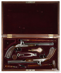 Matched pair of contemporary percussion pistols