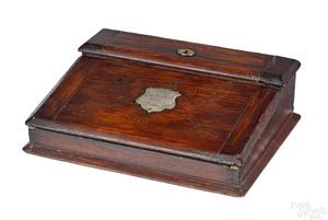 Civil War walnut lap desk of Colonel George Dare