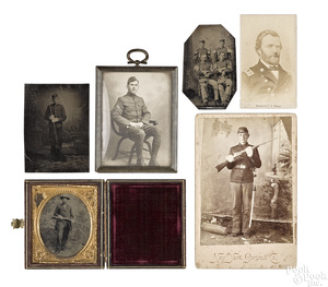 Group of military tintypes and CDV's