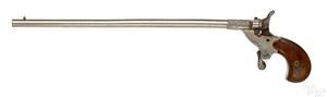 Belgian single shot nickel plated parlor pistol