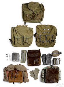 Three German WWII pony packs, etc.