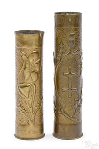 Two WWI trench art shells