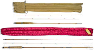 Two three-piece split bamboo fly rods