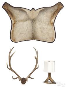 Set of elk antlers, etc.