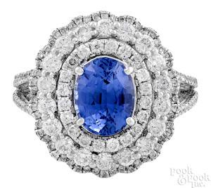 18K white gold Ceylon sapphire and diamond ring