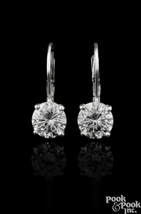 Pair of 14K white gold diamond stud drop earrings