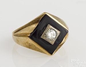 10K yellow gold onyx and diamond ring