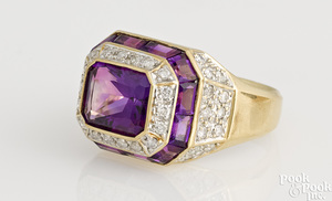 14K gold diamond and amethyst ring