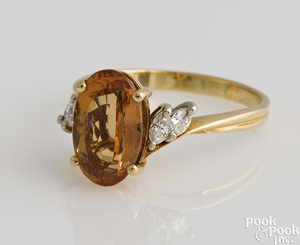14K gold imperial topaz ring