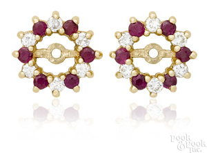 Pair of 14K yellow gold diamond and ruby earring jackets