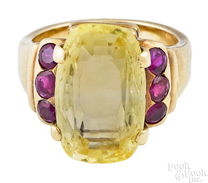 14K yellow gold topaz and ruby ring